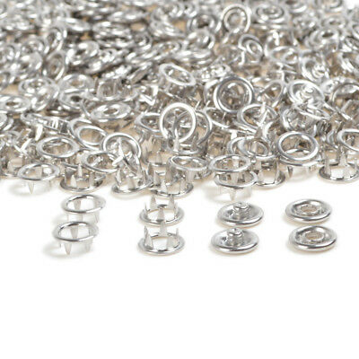 100 sets 10.5 mm Silver Prong Ring Press Studs Snaps Fastener Dummy Clips Button