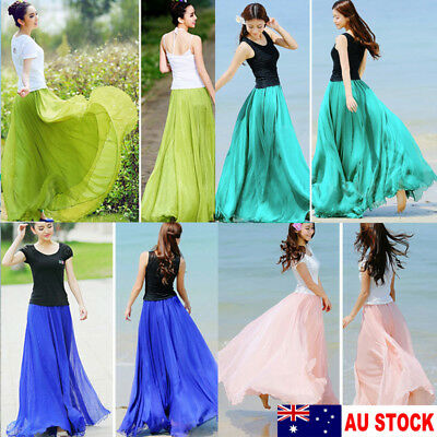 AU Stock Women Boho Chiffon Long Maxi Dress Lady Beach Dresses Sundress Skirt