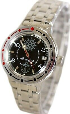 Vostok Amphibian 420526 Classic Military Russian Diver Watch Zissou Navy Black