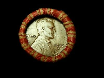 Crimped Shotgun Roll w/ *1908-_* & 1922 - D Lincoln Wheat Cent Showing!