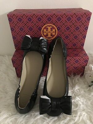 0614d549b3b Tory Burch Divine Bow Driver Ballet Ballerina Flat Size 7.5 Black Nappa  Leather