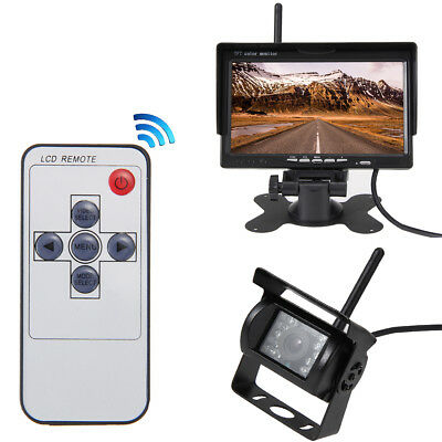 """Wireless IR Night Vision Rear View Back up Camera System+7"""" Monitor for RV Truck"""