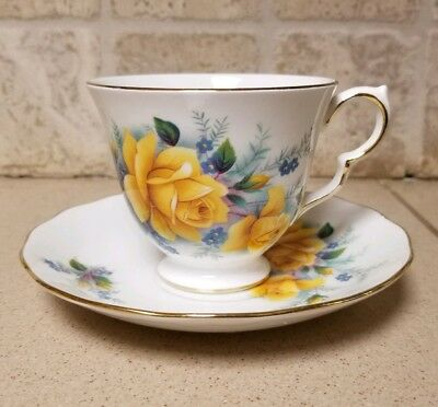 Queen Anne Yellow Rose Bone China Cup & Saucer Set England B 37 8 Tea Floral