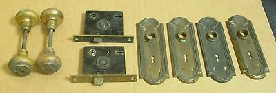 2 Sets Antique Masonic Free Masons Solid Brass Door Knobs, Back Plates, Mortise