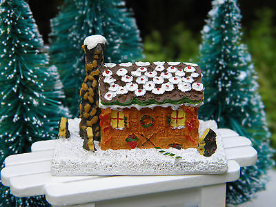 Miniature Dollhouse FAIRY GARDEN Accessories ~ CHRISTMAS Gingerbread Cabin House