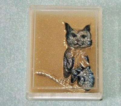 Vintage CLOISONNE' CAT PIN brooch FIGURAL Kitty Gold-Tone Taiwan New old stock