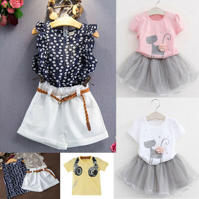 A Toddler Kids Baby Girls Summer Outfit Clothes T-shirt Tops+Shorts Pants Set