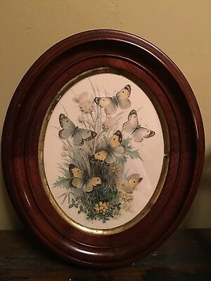 Antique Vintage Round Wood Frame Lithograph Kaleidoscope Butterfly Beautiful