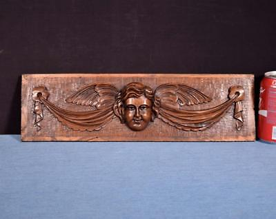"*17"" French Carved Architectural Panel Solid Walnut Salvage with a Face"