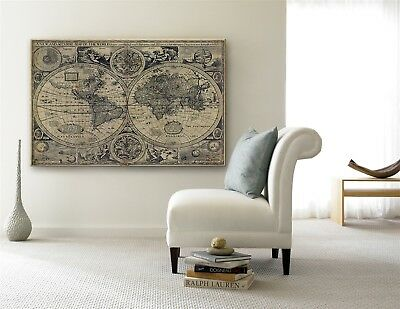 GIANT World Map 1626 Old map Antique decorator Style home decor Wall Map print