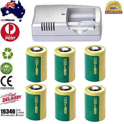 1200mAh 3.0V CR123A 16340 Li-Ion Rechargeable Batteries & Charger for Camera