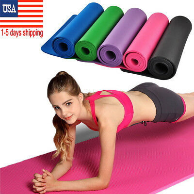 10mm Yoga Mat Thick NBR Non-slip Pilates Workout Fitness Exercise Pad w/Bag USA