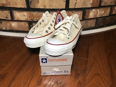 Vintage Made In USA Converse All Star Boy's 5.5 White Ox Silver Box New DS