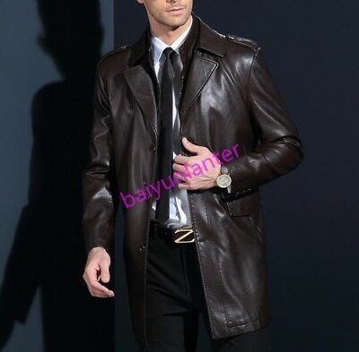 Mens PU Leather Brushed Mid Long Jacket Winter Warm Lapel Collar Casual Jacket S