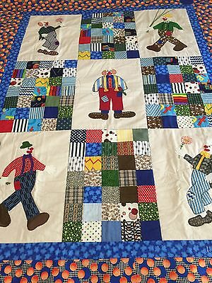 "Handmade quilt 'Clowns"" with applique  60"" x 49.5"""