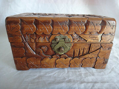 """Vintage 60s Chinese Carved Camphor Wood Box Chest 7.75"""" Jewellery Trinket Asian"""