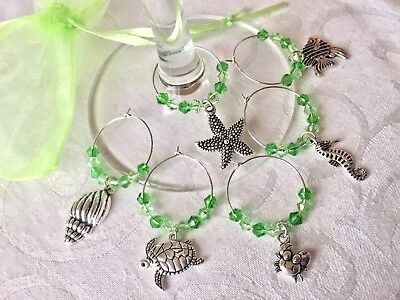6 Ocean Seaside Wine Glass Charms Gift GREEN or BLUE Stocking Filler Beach Gifts