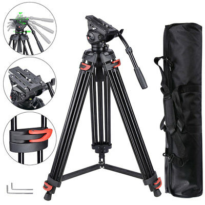 "Professional Heavy Duty 71"" DV Video Camera Tripod Stand w/ Fluid Pan Head Kit"