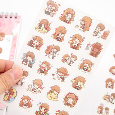 Couple Cartoon Lovers Journal Paper Diary Stickers DIY Scrapbooking Tools N7