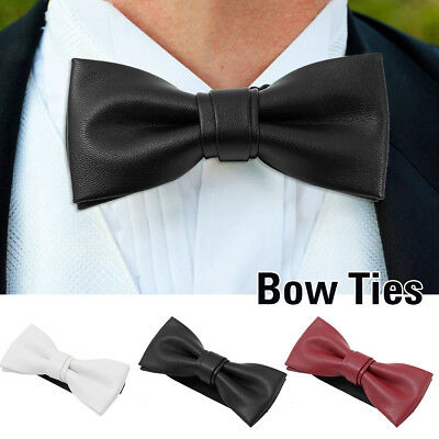 Classic Mens Bow Ties Bowtie Faux Leather PU For Wedding Party Fancy Dress Party