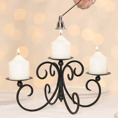Vintage Antique Scroll Black Iron 3 Pillar Christmas Candle Display Stand Holder
