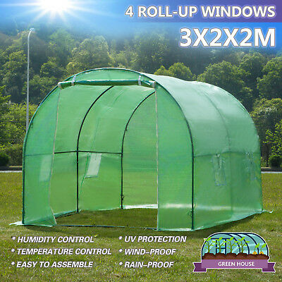 3mx2m Walk-in Greenhouse Polly Tunnel Patio Garden Outdoor Polytunnel Frame