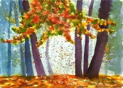 Autumn painting aceo Fall landscape Woodland watercolour