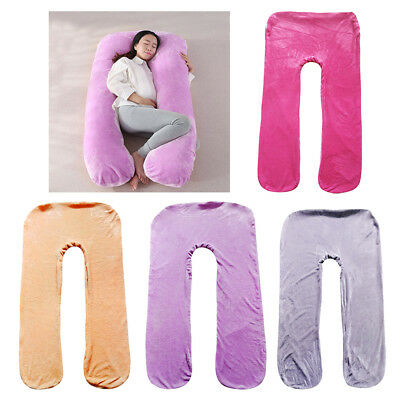 U Shaped Pillowcase Body Flannel Pillow Cover Pregnant Women Maternity Use