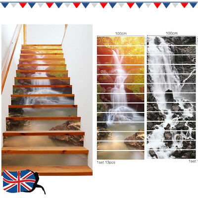 13Pcs 3D Stairs Riser Staircase Sticker Mural Vinyl Decal Scenery Wallpaper