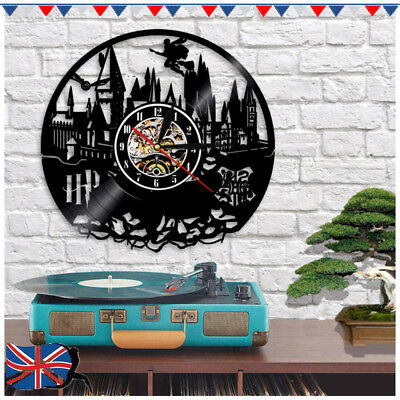 Harry Potter Hogwarts Vinyl Record Wall Clock Birthday Gifts Ideas Room Decor