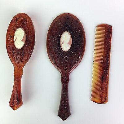 Vtg Avon Amber Cameo Vanity Dresser Set Mirror Brush Comb Victorian Style Scroll