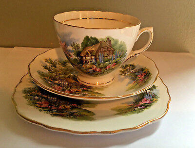 Royal Vale Country Cottage Bone China Vintage Set Of 6 (18 Pieces)