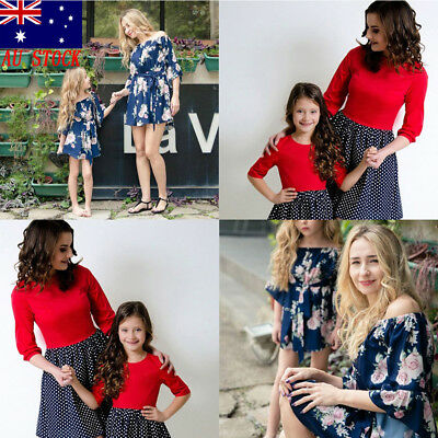 AU Mother and Daughter Casual Flower Print Dress Mommy&Me Matching Set Outfits