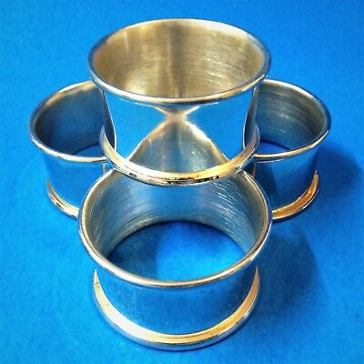 Set x 4 Silverplated Round Napkin Holders - 5cmD x 3cmW- Plain with Rolled Edges