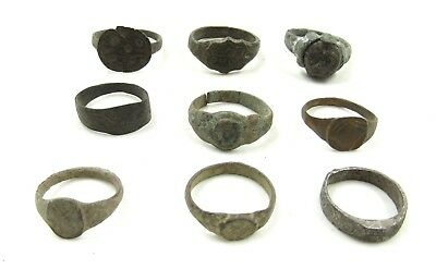 Authentic Lot Of 9 Ancient Roman / Medieval Bronze Rings - Wearable - H231
