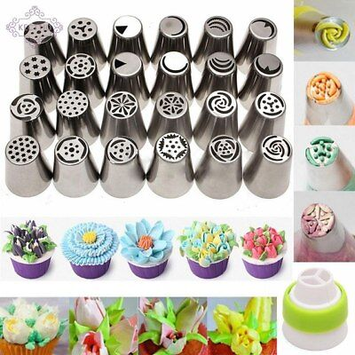 48Pcs Russian Flower Icing Piping Nozzles Tips Pastry Cake DIY Baking Tool D:15%