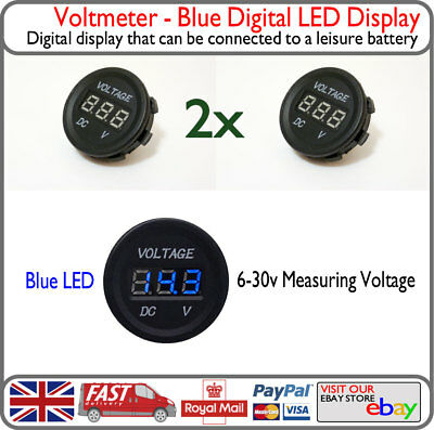 Blue 12v 24v LED Voltmeter Voltage Battery Display VW T4 T5 Solar Bike Van Boat
