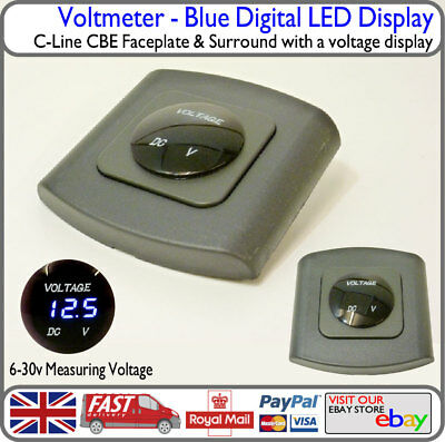 Blue Voltmeter LED C-Line CBE Faceplate Surround Voltage Battery Display Camper