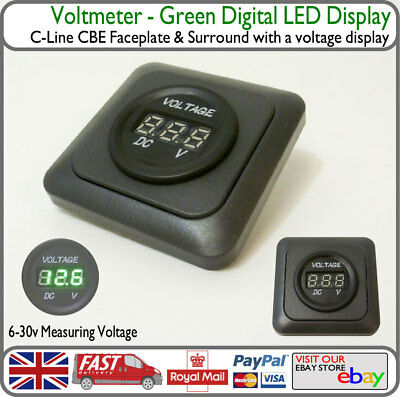 CBE Green Voltmeter LED Voltage Battery Display VW Renault Peugeot Camper Barge