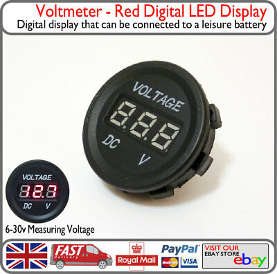 Red LED Voltage Battery Display Round Panel Monitor VW Camper Van Boat Yacht v3