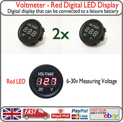 2x Red LED Voltage Battery Display Round Panel Monitor VW Camper Van Boat Yacht