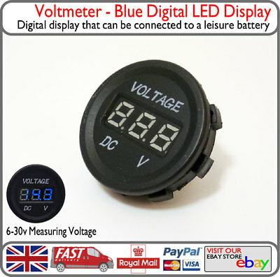 Blue LED Voltmeter Voltage Solar Leisure Battery Display VW T2 T4 T5 Van Boat v3