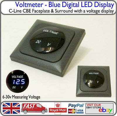 Blue Voltmeter Battery Voltage Display Grey Faceplate Houseboat Campervan VW T4