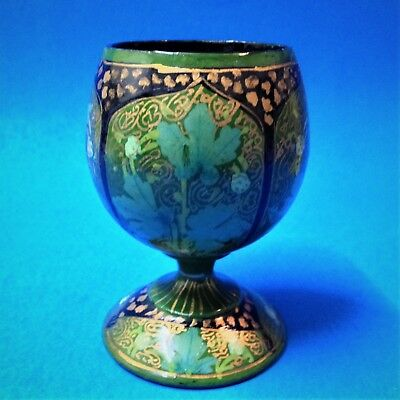 Kashmir Egg Cup - Green & Gold Lacquered Turned Wood - Old New Stock, Indian
