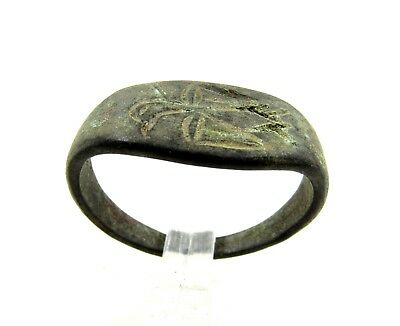 Authentic Ancient Roman Bronze Ring W/ Eagle - Wearable  - H252