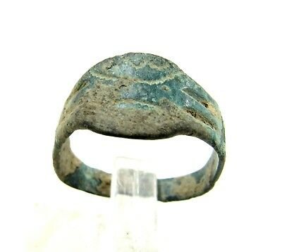 Authentic Medieval Viking Era Bronze Ring W/ Runic Decoration - Wearable - H253