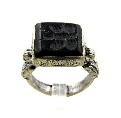 Authentic Post Medieval Silver Ring W/ Intaglio Butterfly - H257