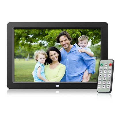 "12"" Digital Photo Frame Metal Frame LED Picture Video Player Black +Remote"