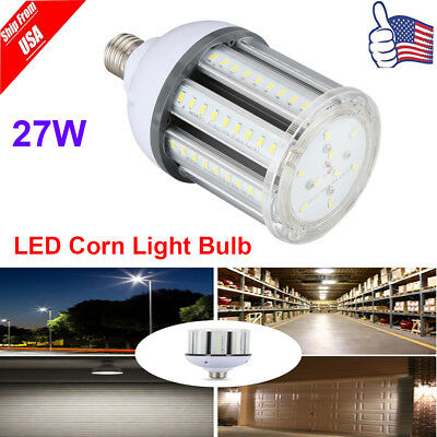 E27 27W LED Corn Bulb 2700LM 6500K Super Bright 360° Flood Light AC100-240V US