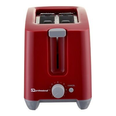 Sq Professional 750W Plastic Toaster with Reheat, Defrost & Cancel, Red